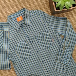 Merrell Plaid Activewear Button Shirt Small